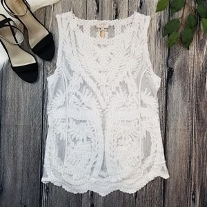 Laundry by Shelli Segal Sheer Lace Tank Top
